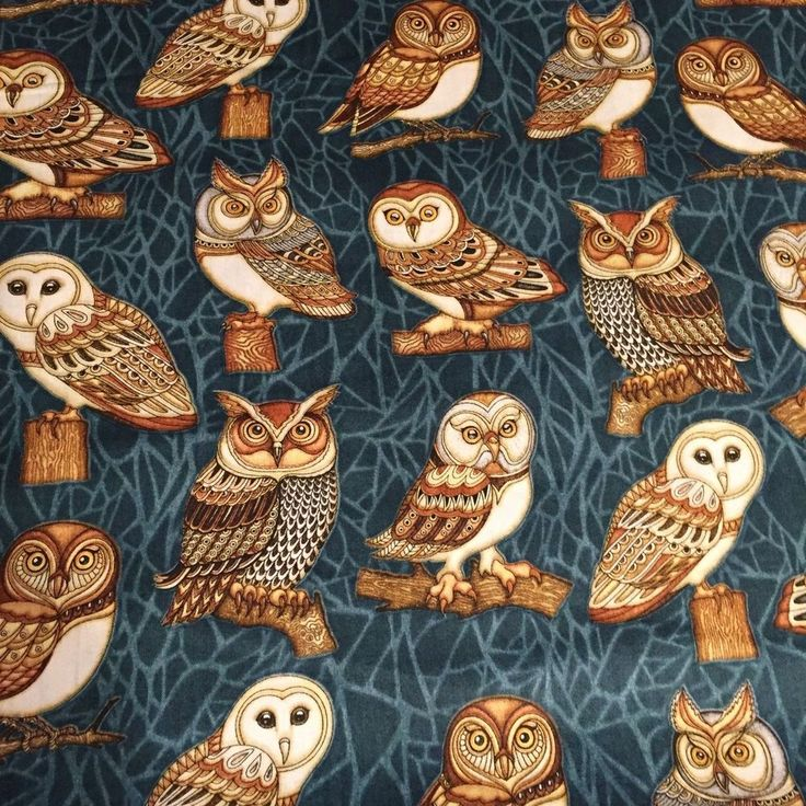Where the Wise OWL 100% cotton fabric by the yard Owls on Dark Teal background #QuiltingTreasures