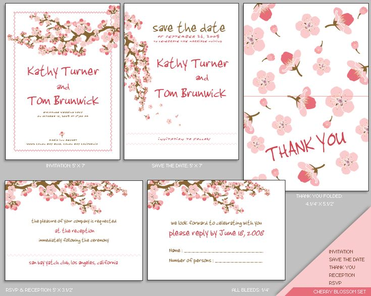 MUJKA CHERRY BLOSSOM WEDDING INVITATION SET   Cherry Blossom   Designs  Templates, Free Printable Wedding