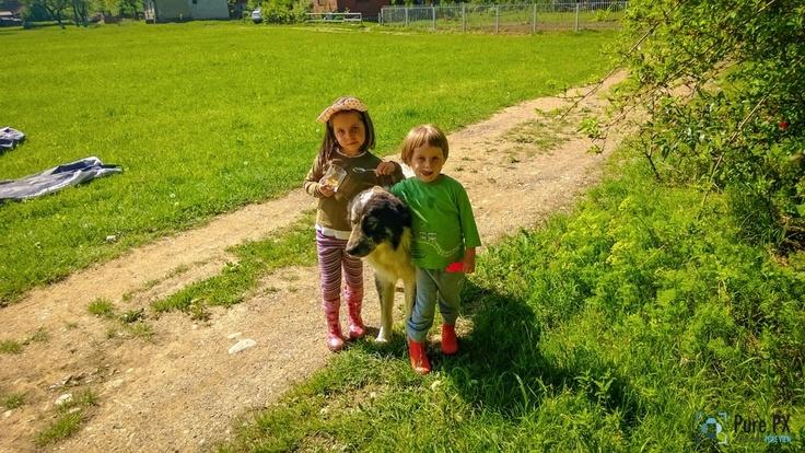 2 copii și un cățel