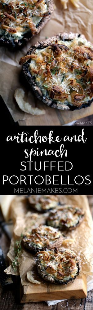These five ingredient Artichoke and Spinach Stuffed Portabellos take just 10 minutes to prepare.  Meaty portobello mushroom caps are stuffed with artichoke spinach dip before being topped with french fried onions, fresh thyme and Parmesan cheese.  It's like Stuffed Mushrooms and Artichoke and Spinach Dip decided to get married and this recipe is the result of their beautiful relationship.