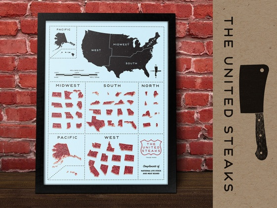 We are pretty sure @Katharine Webb will want this when it's available. United Steaks Poster by Jamie Reed, via Kickstarter.