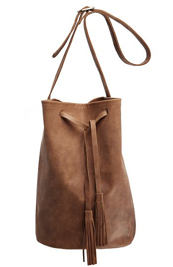Leather Bucket Bag in Camel