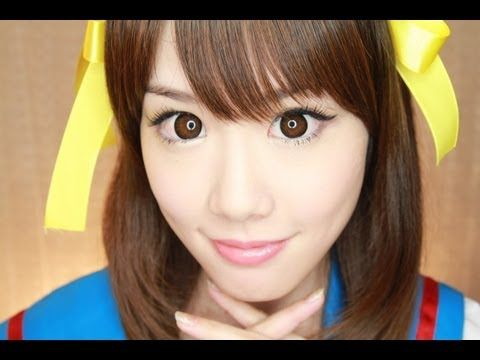 ▶ ♡ANIME♡ Haruhi Makeup Tutorial アニメメイク 涼宮ハルヒ (Halloween/ハロウィン) - YouTube