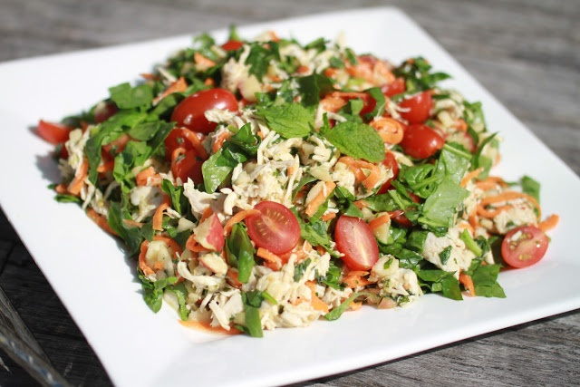 Thai style chicken coconut salad - using a Thermomix to shred the chicken makes this salad so much less labor intensive