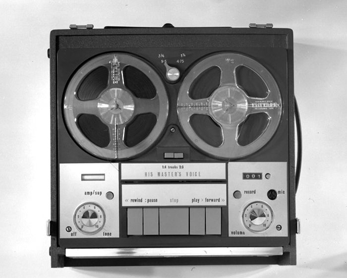 A Ferguson UK recorder re-badged and photographed as a HMV tape recorder in studio, March 1966. Max Dupain & Associates.