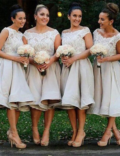 Light Grey Bridesmaid Dress, Off-shoulder Bridesmaid Dress, Knee-length Bridesmaid Dress, Organza Bridesmaid Dress, Charming Bridesmaid Dress