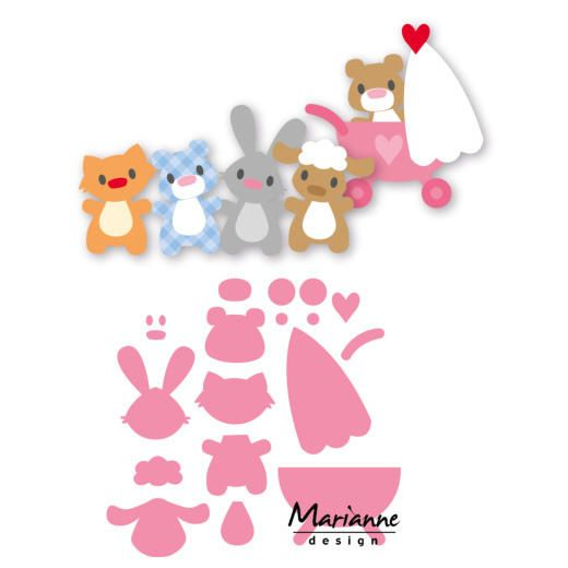 Marianne Design Collectables Cutting Dies - Eline's Baby Animals & Pram COL1422