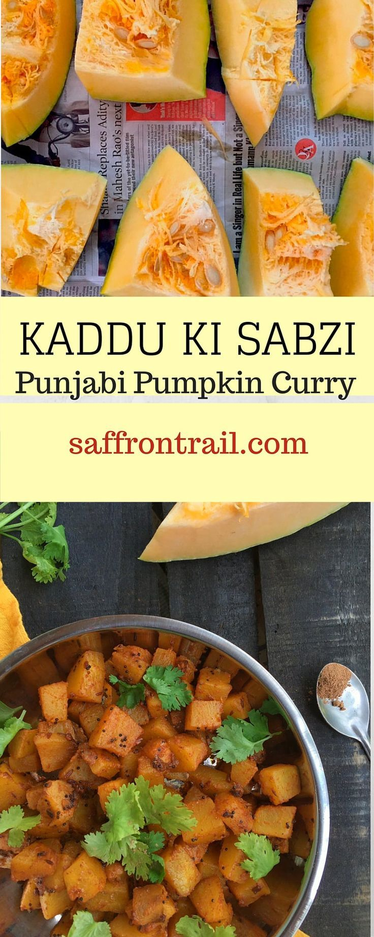 Indian food Recipes (Punjabi) - This authentic recipe for Punjabi style Khatti Meethi Kaddu ki Sabzi (Sweet Sour Pumpkin Curry) comes from a friend's mother who is a brilliant cook. This is THE sabzi to eat with Pooris.