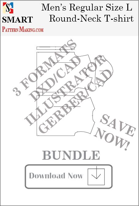 3 Formats Men's Round Neck T-shirt Sewing Pattern Download