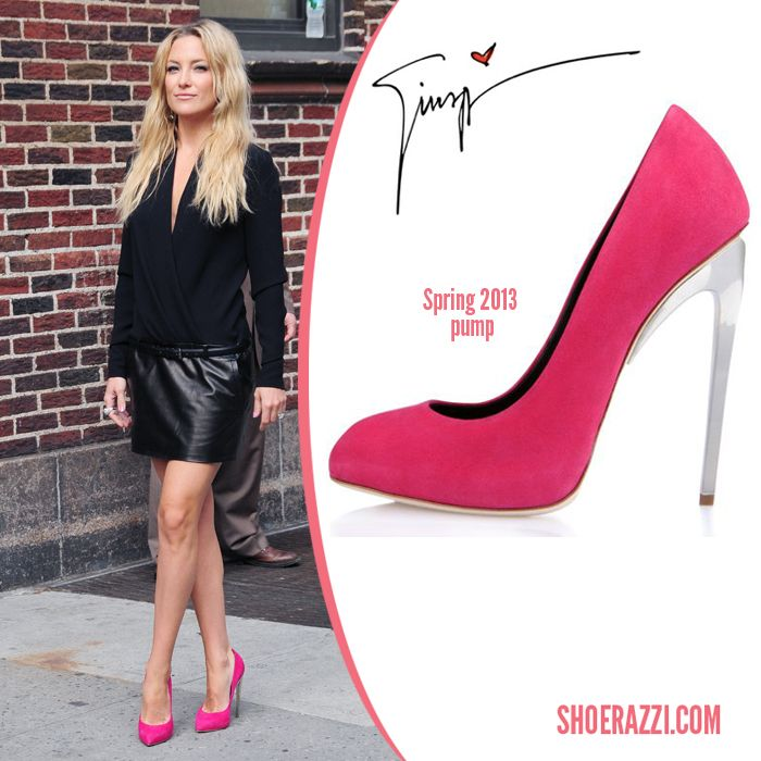 Kate Hudson was spotted wearing Giuseppe Zanotti Resort 2013 shoes pumps  and wore a Barbara Bui Fall 2013 combo dress with a silk wrap top and  leather skirt ...