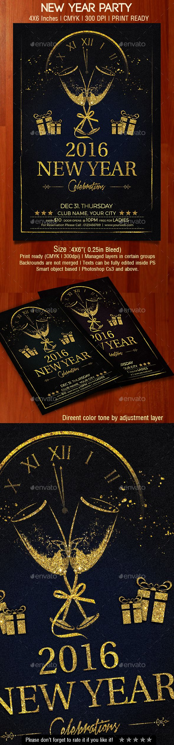 New Year 2016 Party Flyer Template PSD #design Download: http://graphicriver.net/item/new-year-party-flyer/13888453?ref=ksioks