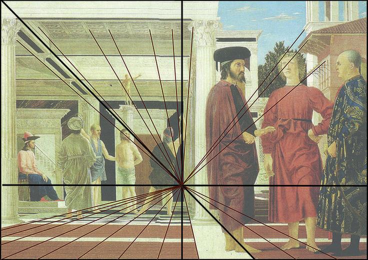 Fuyantes vers le point central du tableau de La Flagellation du Christ de Piero della Francesca