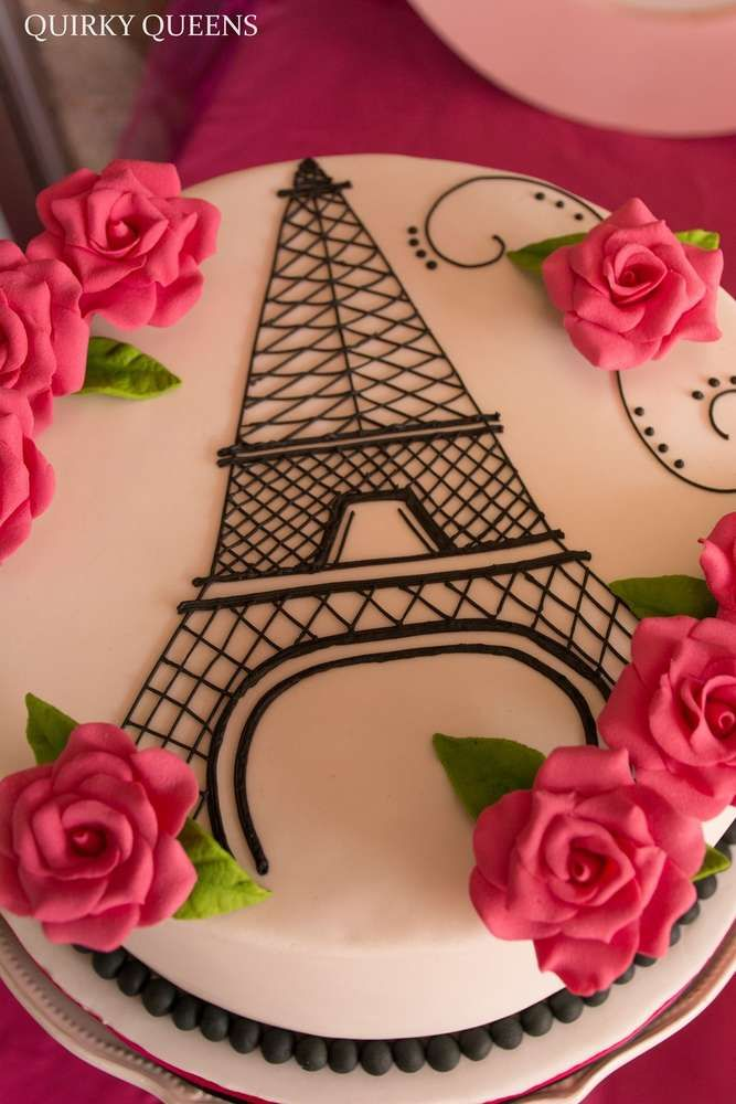 Gorgeous cake at a Parisian high tea birthday party! See more party planning ideas at CatchMyParty.com!