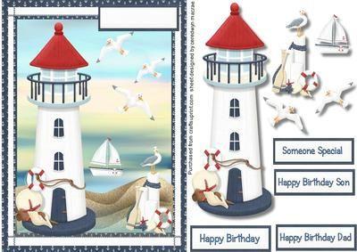 Along the coastal paths and seaways  on Craftsuprint designed by Ceredwyn Macrae - A lovely card to make and give to any male on his birthday Along the coastal paths and seaways a lovely card has four greeting tags and a blank one for you to choose the sentiment,  - Now available for download!