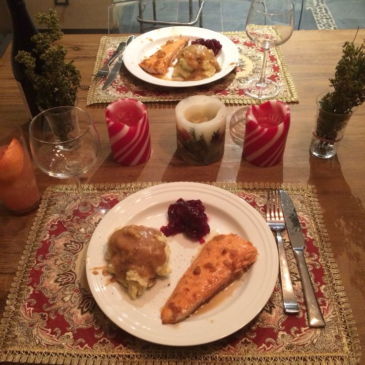 """Christmas"" dinner, maple ginger glazed salmon, cranberry sauce, vegetarian gravy mashed potatoes"