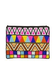 LIQUORICE ALL SORTS BEADED LARGE ZIP TOP CLUTCH by Adorne