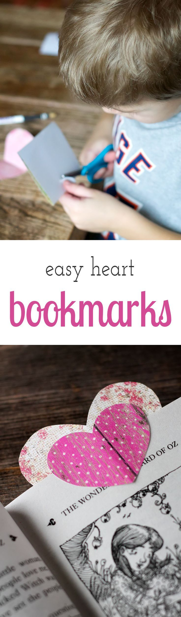 Learn how to create Easy Heart Bookmarks, the perfect Valentine's Day craft for readers of all ages! via @https://www.pinterest.com/fireflymudpie/