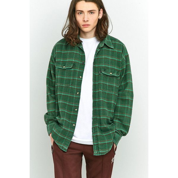 Urban Renewal Vintage Customised Green Plaid Flannel Shirt ($39) ❤ liked on Polyvore featuring men's fashion, men's clothing, men's shirts, men's casual shirts, dark green, mens plaid shirts, mens green shirt, mens flannel shirts, dark green mens dress shirt and mens green plaid shirt