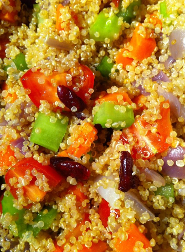 Quinoa Salad with a good splash of YIAH Blood Orange Guava Mango Vinegar (otherwise known as OMG)