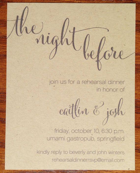 Wedding Rehearsal Dinner Invitations Rustic by VeronicaFoleyDesign