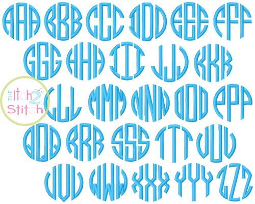 Natural Circle Monogram Embroidery Font