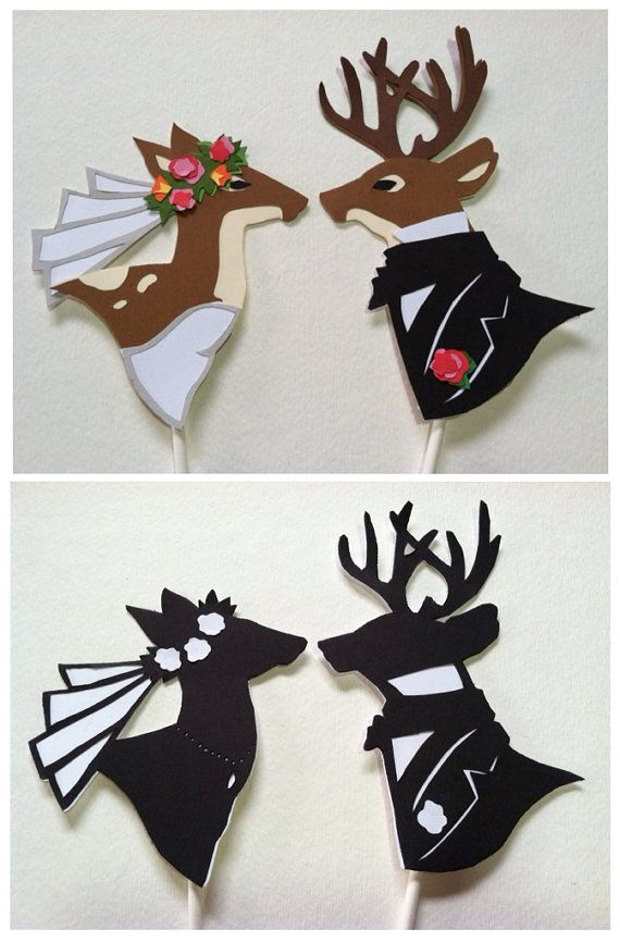 deer wedding cake topper silhouette hand cut paper original art  color set