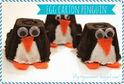 Green Owl Art: Egg Carton Penguin