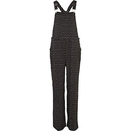 Black and white polka dot smart dungarees - dungarees - playsuits / jumpsuits - women