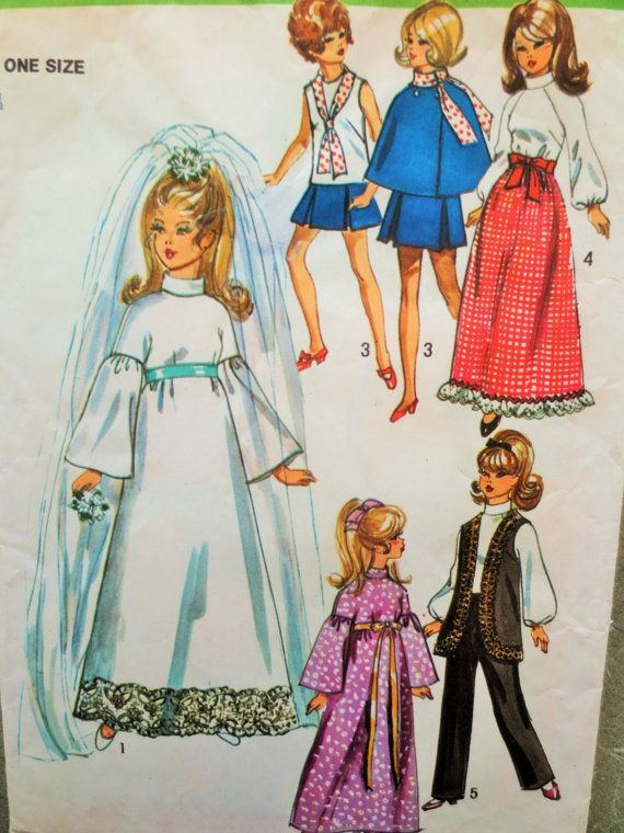 Vintage Simplicity 9097 Sewing Pattern, Barbie Clothes 1970s Doll Clothes, Fashion Doll Wardrobe, Barbie Wedding Dress, 1970s Sewing Pattern