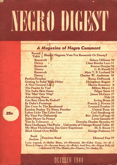 """Negro Digest, """"A Magazine of Negro Comment,"""" October 1944"""