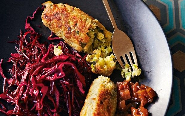 Glamorgan sausages served with fruity brown sauce and winter slaw