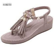 Estate Coreano stile di modo confortevole spessa delle donne frange sandali Romani scarpe basse per le donne beige viola basso sandali con zeppa(China (Mainland))