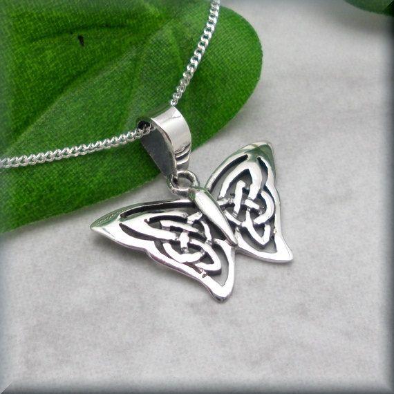 Schmetterling Halskette Sterling Silber Celtic Knot Anhänger Papillon täglichen irischer Schmuck (SN709)