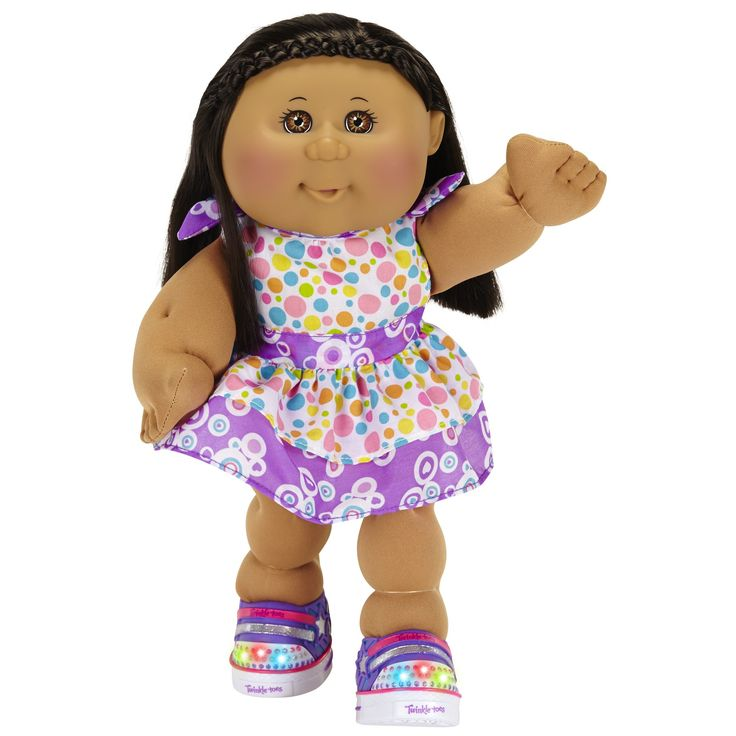 """Cabbage Patch Kids Twinkle Toes: A/A Girl Doll, Dark Brown Hair, Brown Eyes. NEW to the patch are Cabbage Patch Twinkle Toes Kids with real light-up shoes by Skechers!. This Brown eyed Dark Brown hair African American 'Kid stands 14"""" tall, features a soft, cuddly body and is ready for adoption. Gently tap the bottom of the shoe on a hard surface or your hand to watch shoes light up and shine!. Kid comes with removable fashions, removable Twinkle Toes by Skechers shoes, a birth certificate..."""