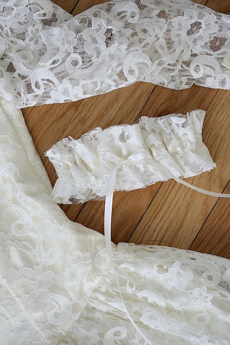 Custom Reused Wedding Dress-Ivory Lace Bridal Garter-by The Garter Girl