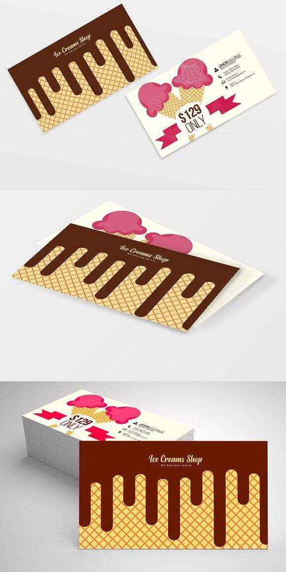 Ice Cream Business Card Templates 06 Ice Cream Business Business Cards Creative Business Cards