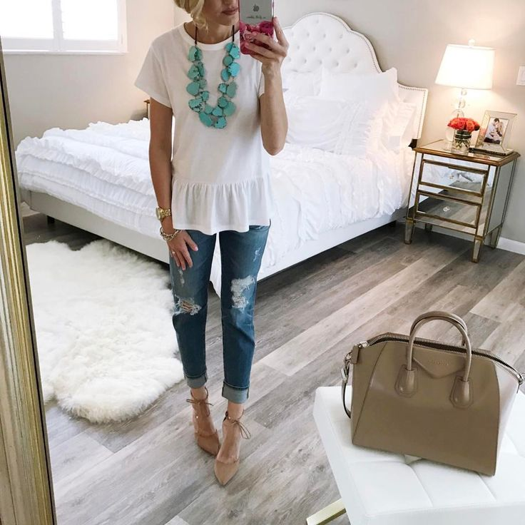 """2,251 Likes, 18 Comments - Jade (A Spoonful of Style) (@jscott24) on Instagram: """"A simple #ootd for my Monday. Loving this peplum t-shirt (it runs big, size down) and my comfy…"""""""