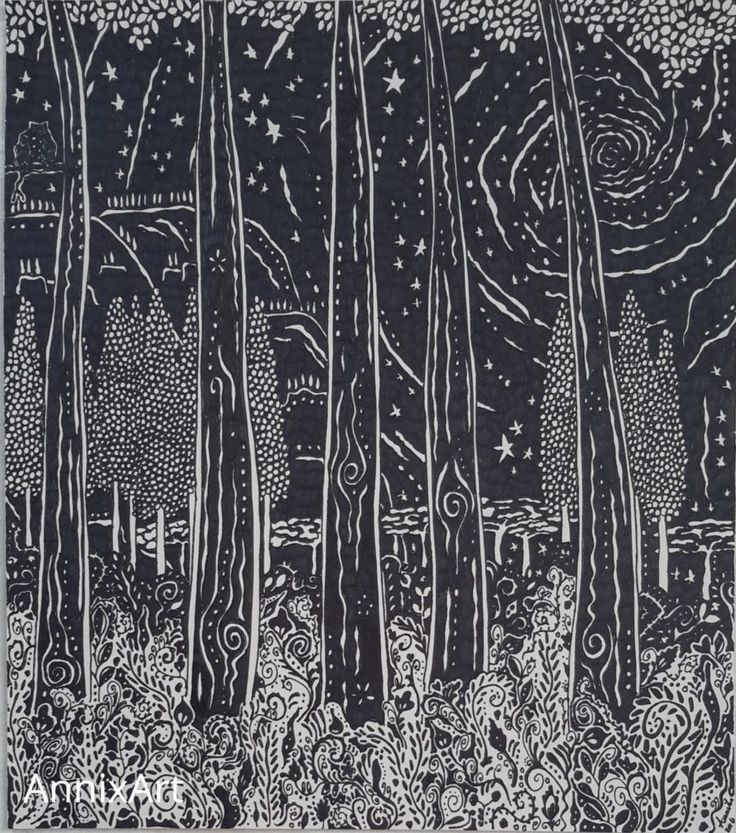 Detailed black and white drawing of trees at night. Starry night time forest tree illustrations. Art by AnnixArt.