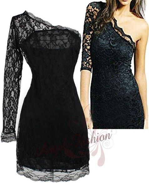 Wish | One Shoulder Lace Clubwear Min Dresses S M L XL Black