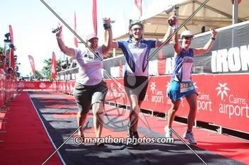 Crossing the finish line with my team at the half ironman Cairns, June 3 2012