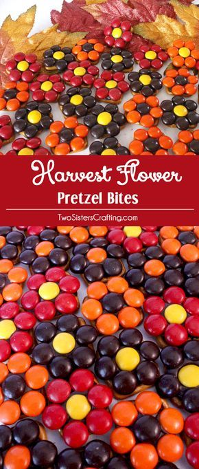 Our easy to make Harvest Flower Pretzel Bites are yummy bites of sweet and salty Thanksgiving Treat goodness. They are perfect as a little extra Thanksgiving Dessert or an anytime Fall snack. Pin this delicious Fall Snack for later and follow us for more fun Thanksgiving Food Ideas.