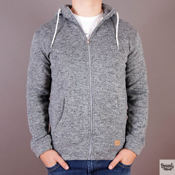 Ciepła szara męska bluza z kapturem Quiksilver Keller Zip Medium Grey Heather / www.brandsplanet.pl / #quiksilver