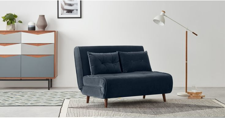 Haru Small Sofa Bed, Sapphire Blue Velvet (With images ...