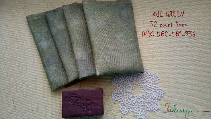 32 count OIL GREEN hand dyed linen for cross stitch, hardanger, blackwork, embroidery works 13 1/2x13 1/2 inch by xJudesign on Etsy
