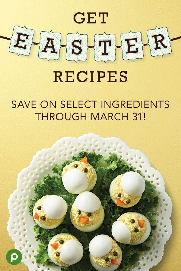 Looking for an easy and delicious Easter recipe that the kids will love? Try these Chickie Deviled Eggs from Publix Aprons. They're the perfect addition to your brunch table—guaranteed to put a smile on everyone's face. Plus, see more tasty ideas and even get coupons to save on select ingredients for that special brunch, dinner, or dessert. #deviledeggs