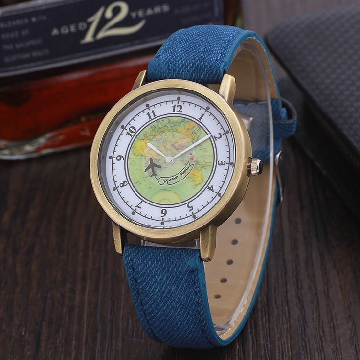 watches travel women leather men wrist watch dial fabric map denim by world itm plane global