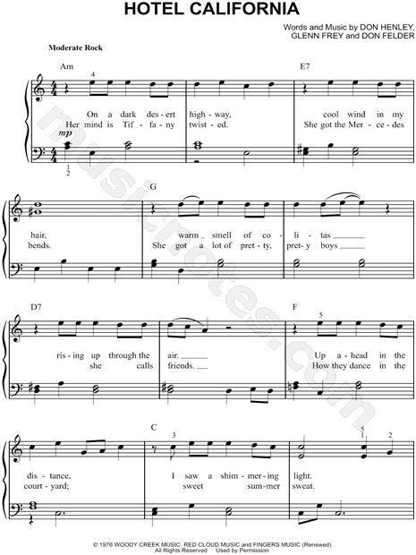 Print and download sheet music for Hotel California by The Eagles. Sheet music arranged for Easy Piano in A Minor.
