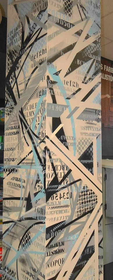 decoration on  freestyle abstract graffiti stencil art interior