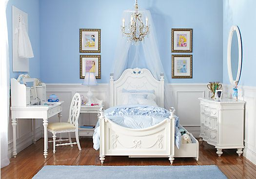 Shop for a Disney Princess White  5 Pc Twin Poster Bedroom at Rooms To Go Kids. Find  that will look great in your home and complement the rest of your furniture.  #roomstogo