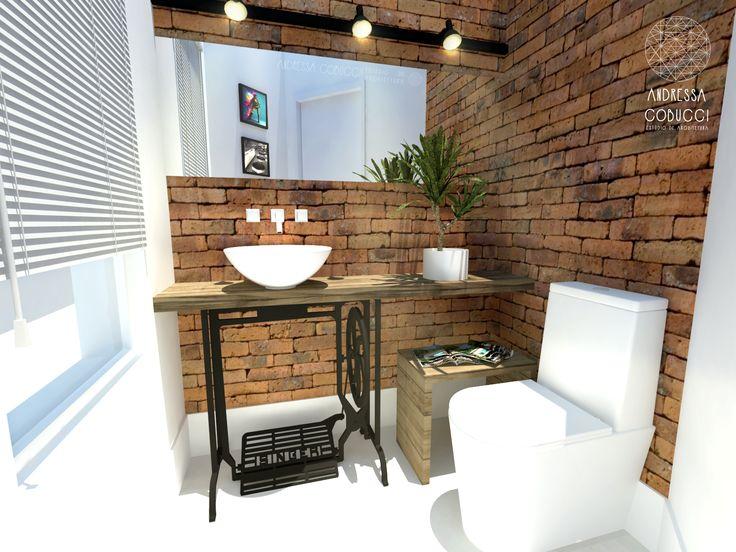 Lavabo banheiro tijolinhos aparentes e p de m quina for Muebles de lavabo rusticos